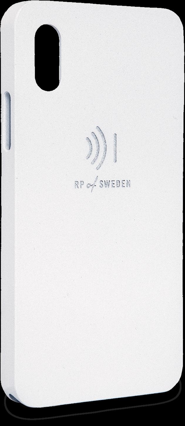 Strålningsskyddande mobilskal i vit aluminium till iPhone X och Xs från RP of Sweden
